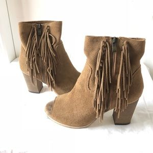 MIA Brown Tan Suede Coty Fringe Ankle Booties